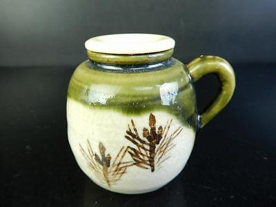 H1712: Japanese Oribe-ware Green glaze Pine pattern TEA CADDY Chaire Container
