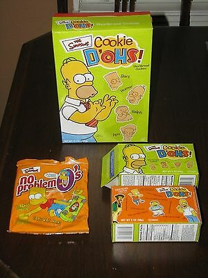 1998 NO-PROBLEM O's, 2002 COOKIE D'OHS! SIMPSONS COOKIES Homer Simpso bag, boxes