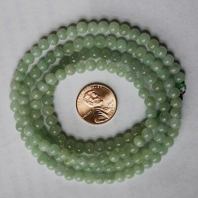 "CERTIFIED Natural Untreated Light Green Jadeite JADE Beautiful Necklace 28"" #186"