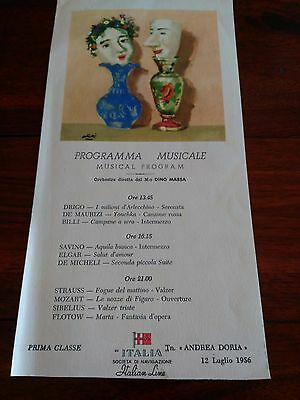 Andrea Doria 1st Class final Eastbound voyage music program Italian Line rare 56