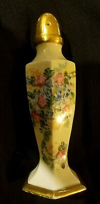Vintage Salt Shaker Hand Painted Gold Top – No Stopper. dated 1943