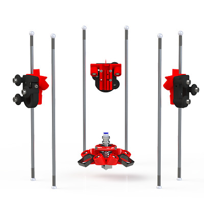 Delta Kossel Rostock magnetic SET 1x Effector, 3x Carriages, 3x rods - MAGNETIC