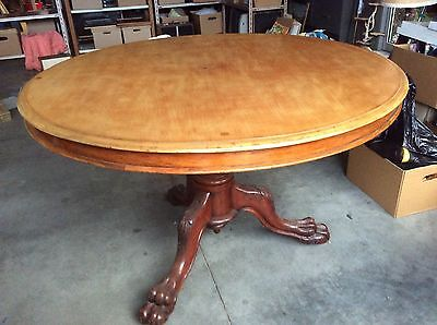 Table Antique Round Victorian Pedestal,seperate glass top,claw feet,castors