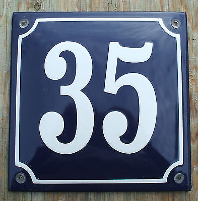 FRENCH ENAMEL HOUSE NUMBER SIGN. WHITE No.35 ON A BLUE BACKGROUND. 16x16cm.