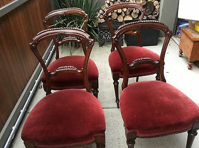Antique Chairs-Victorian ornate x 4 matching dining room chairs