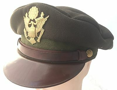 WW2 USAAF Officers Crusher Cap American Pilot Hat Chocolate Peaked Service AAF