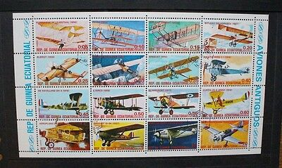 EQUATORIAL GUINEA 1974 Vintage Aircraft. SHEETLET of 16. Fine USED/CTO.