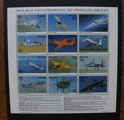 PALAU 1995 Experimental Aircraft. SHEETLET of 12. Mint Never Hinged. SG887/898.