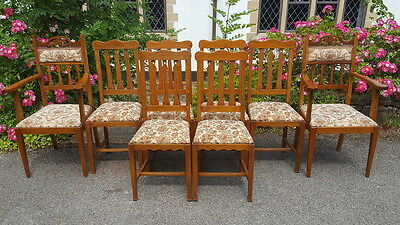 Stunning Set of 8 Oak Arts & Crafts Dining Chairs Inc.2 Carvers Beautiful Chairs