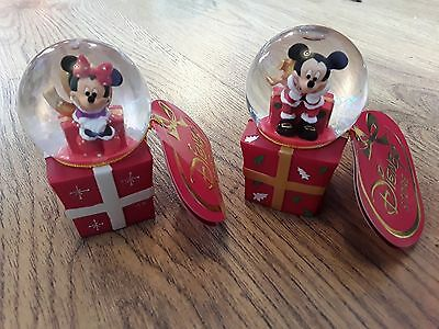 Disney Store mickey mouse and minnie snow globes