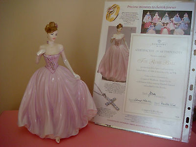 L/e Coalport Figurine-Rose Ball-Compton & Woodhouse+Cert-Free P&p