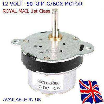 12V DC HIGH TORQUE Electric Motor/Gearbox 50 RPM - Reversible - Available in UK