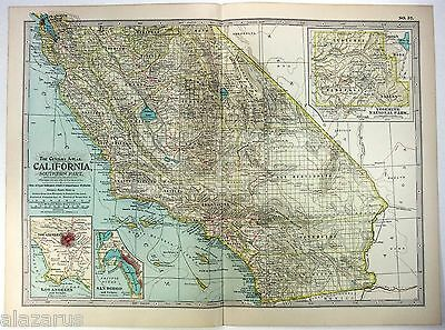 Original 1902 Map of Southern California by The Century Company