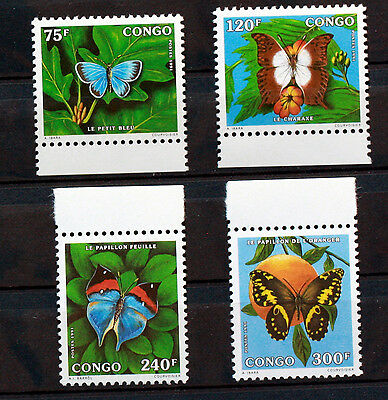 Timbres Congo PAPILLONS   serie complete MNH  Scott 926/9   88M624