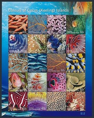 2011 Colours of Cocos (Keeling) Islands Marine Life Sheetlet of 20 MNH