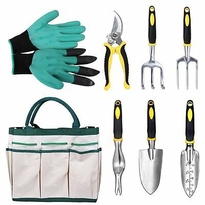 Garden Tools Hand Tool Set 8 Piece Bag Rake Sprayer Fork Trowel Gardening Home