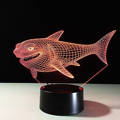 Shark 3D illusion Art Night Light 7 Color Change LED Kid Table Desk Lamp