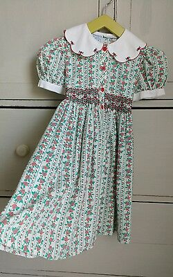 Vintage 70s Girls Floral Dress Hand Smocked Embroidery Tie Back Age 4
