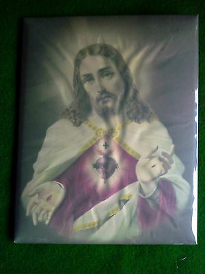 Vintage 40's Tin backed, plastic covered Jesus Sacred Heart Picture