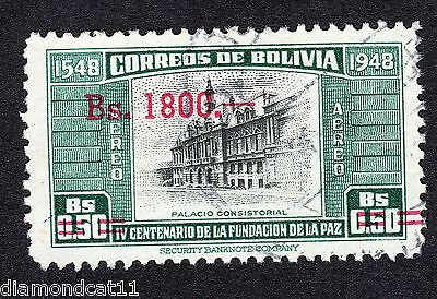 1957 Bolivia 1800b OPTD on 0.5b Consistorial Palace SG638 FINE Used R16110