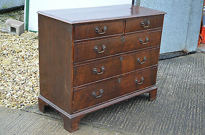 Original Georgian III Mahogany Straight Fronted Chest Of Drawers 2 Over 3