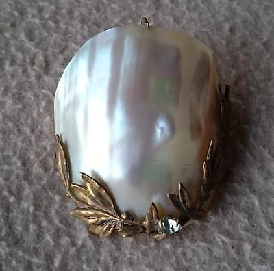 Art Nouveau French Mother Pearls Shell Solitaire Stone Diamante Brooch Aigrette