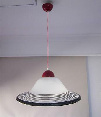 Vintage Retro Ceiling Lamp Hanging Pendant Light Shade Black White 70's PUp QLD