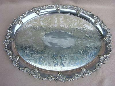 Large Antique Victorian English Birmingham Silver Plate Tray High Quality