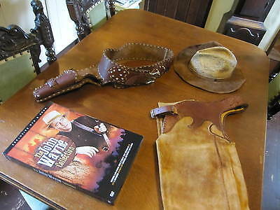 Western Cowboy Stetson Suede Chaps Leather Single Holster Gun Rig And Dvd Set