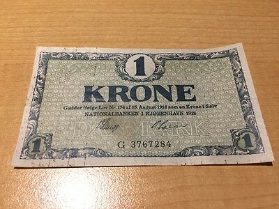 A One Danish Krone 1918 Banknote