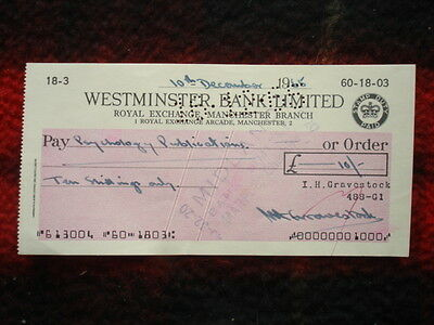 1965 Used Cheque: Westminster Bank, 1 Royal Exchange Arcade, MANCHESTER 2