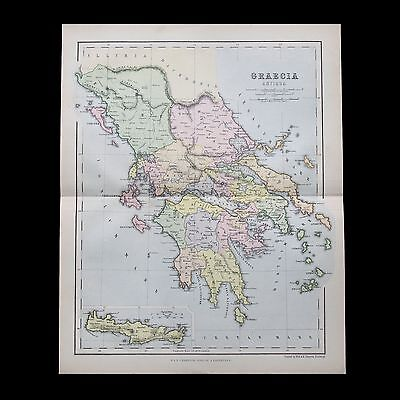 Antique 1883 colour map of ANCIENT GREECE - 130+ years old & VGC !