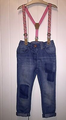 Girls Jeans By NEXT With Braces Age 3-4 Floral Pink Gorgeous