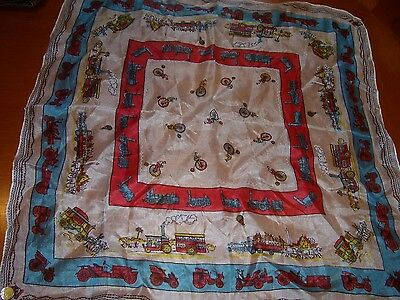 100% Silk Vintage Gent's Handkerchief Square Vintage Cars Steam Traction Engines