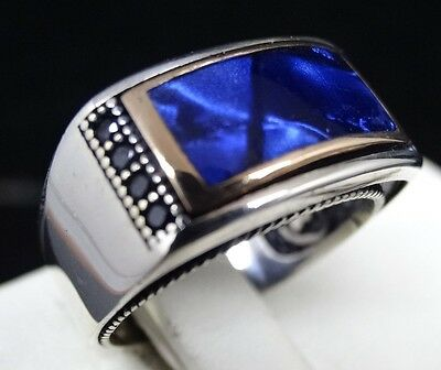 Turkish Handmade 925 Sterling Silver Sapphire Mens Ring Sz 11 us FREE RESİZE