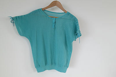 Vintage 80s tropical green mesh T-shirt, ruched shoulders, cotton blend, S/10
