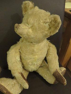 "Original Antique Mohair 19"" Bear Straw Stuffed. Humped Back, Long Snout & Arms"