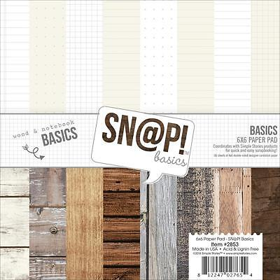 "Simple Stories Snap Wood & Notebook Basics 6""x6"" Paper Pad 2853"