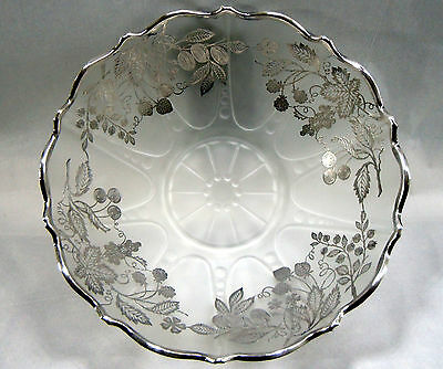 Large Silver Overlay Fruit Bowl Cambridge House Warming Dinner Gift Frosted