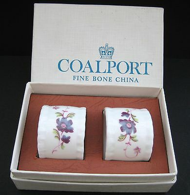 Vintage Bone China Napkin Rings with Floral Design by Coalport England