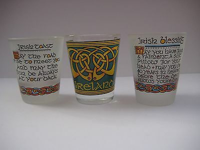 3 Whiskey Tot Glasses from Ireland, Celtic souvenirs