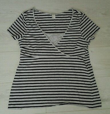 H&M mama MATERNITY size large T-SHIRT summer top grey black stripes