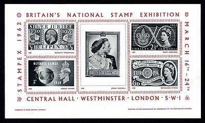 GB Poster Stamps - STAMPEX 1962 Souvenir Sheet with GB Commems over 4 Reigns