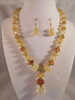 Handcrafted Natural Citrine & Peridot necklace and bracelet