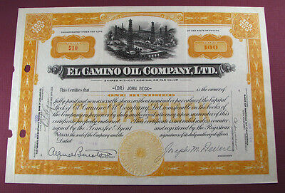 #459 - old 1930 EL CAMINO OIL CO LTD / NEVADA stock certificate LOS ANGELES CA