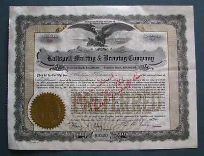 #176 - scarcer ISSUED 1934 KALISPELL MALTING & BREWING stock certificate MONTANA