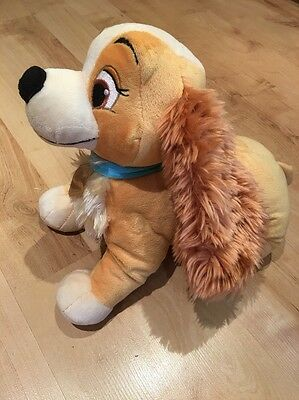 """Disney Store exclusive Lady And The Tramp Lady Plush Super Soft Toy 13"""" X 10"""" (3"""