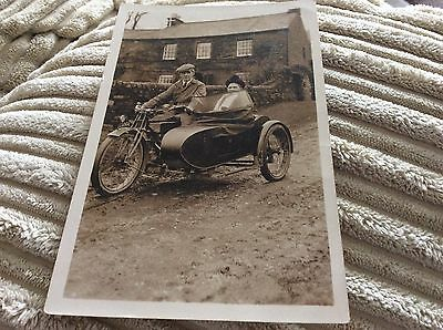 motorbike and sidecar Postcard Edwardian