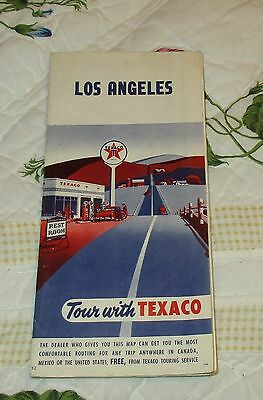 Vintage 1953 Texaco Gas GASOLINE Road Highway Map LOS ANGELES CALIFORNIA CA