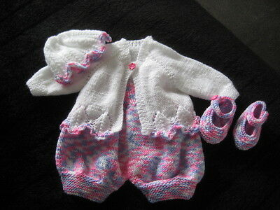 Hand Knitted Pink Mix /white Cardi & Romper Set For 20 Inch Reborn /newborn Baby